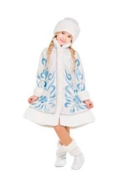 Little girl in snow maiden costume