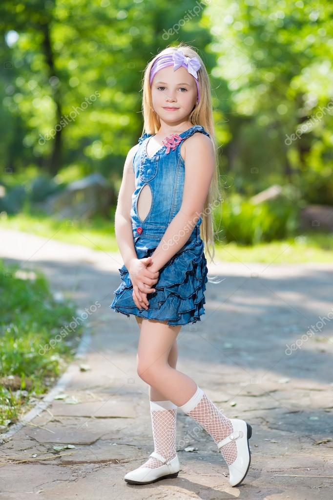 Https Depositphotos Com 49263575 Stock Photo Little Girl In Jeans Dress Html