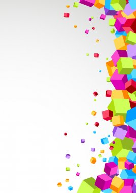 Colorful cubes flying - geometrical background