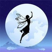 Fotografie Fliegende Elfensilhouette in der Nacht