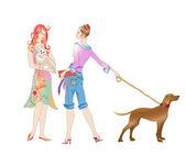 Fényképek két lány, a kutyák