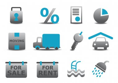 real estate and moving icons se