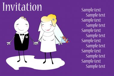 Invitation with funny bride and groom