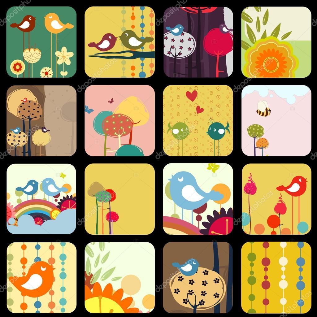 retro Flowery design greeting cards