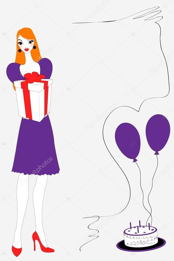 vectorillustratie van funky verjaardagskaart gteeeting met mooie