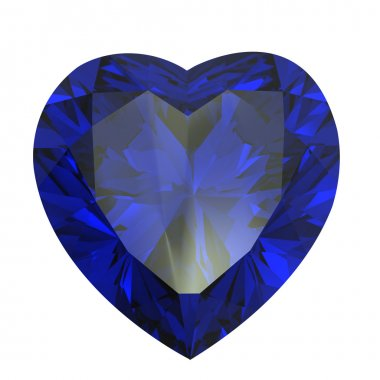 Heart shaped Diamond isolated. sapphire