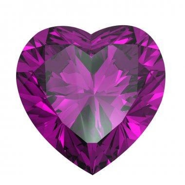 Heart shaped Diamond isolated. amethyst