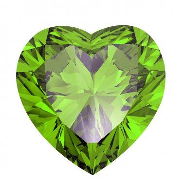 Heart shaped Diamond isolated. peridot