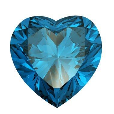 Heart shaped Diamond isolated. aquamarine