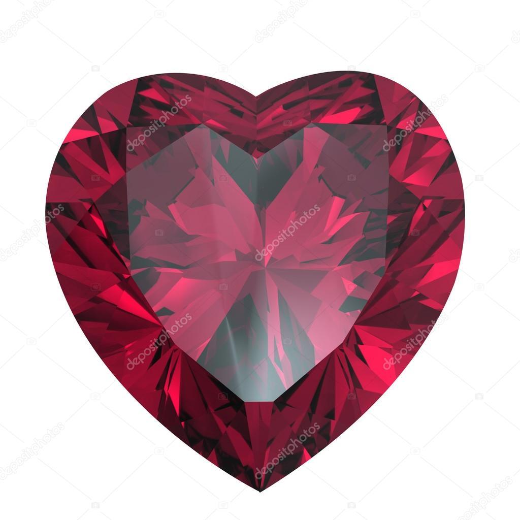 Heart shaped Diamond isolated. rhodolite