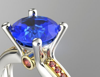 Ring with blue diamond