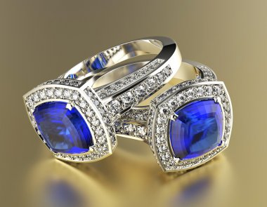 Rings with blue diamonds