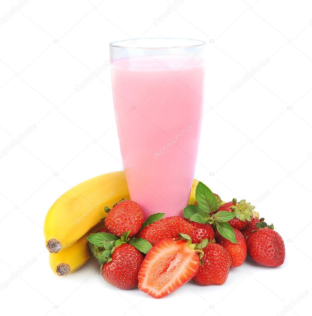 Fresh fruits with bananas and smoothies