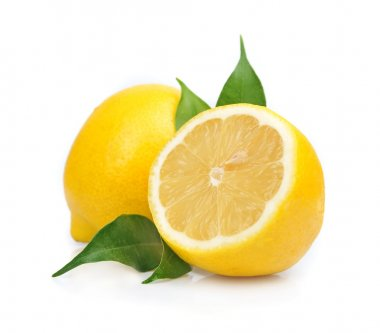Lemon with leaves on white stock vector