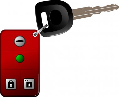 Car key with remote control isolated over white background. Vect