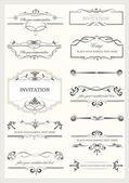 kaligrafické prvky a rám vintage sada. vektorové ilustrace