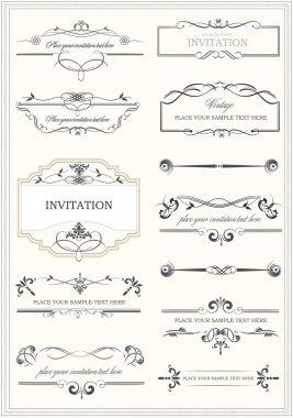 Calligraphic elements and frame vintage set. Vector illustration