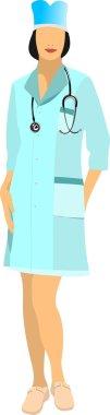 Medical nurse with stethoscope. Vector illustration