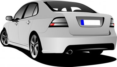 Rear view of silver car sedan on the road. Vector illustration