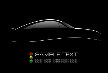 White silhouette of car sedan on black background. Vector illust