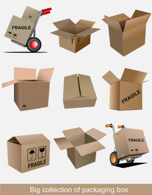 Big collection of carton packaging boxes. Vector illustration clip art vector