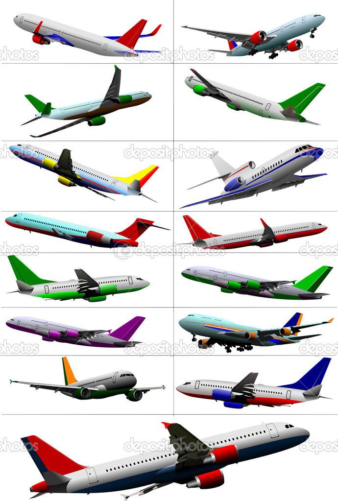 gran colección de aviones de pasajeros. View color — Vector de stock ...