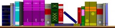 Vector illustration bookshelf library.