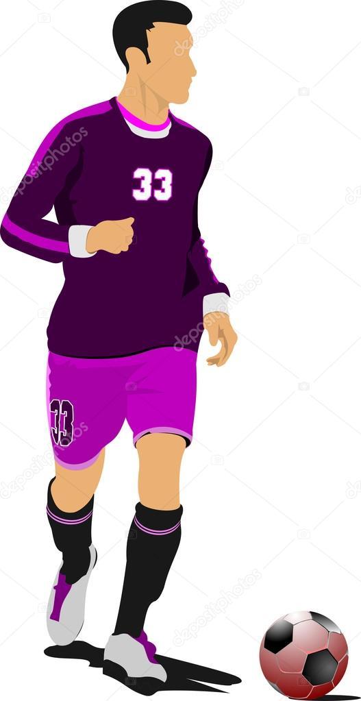 jugador de fútbol soccer. Ilustración de vector color para el ...