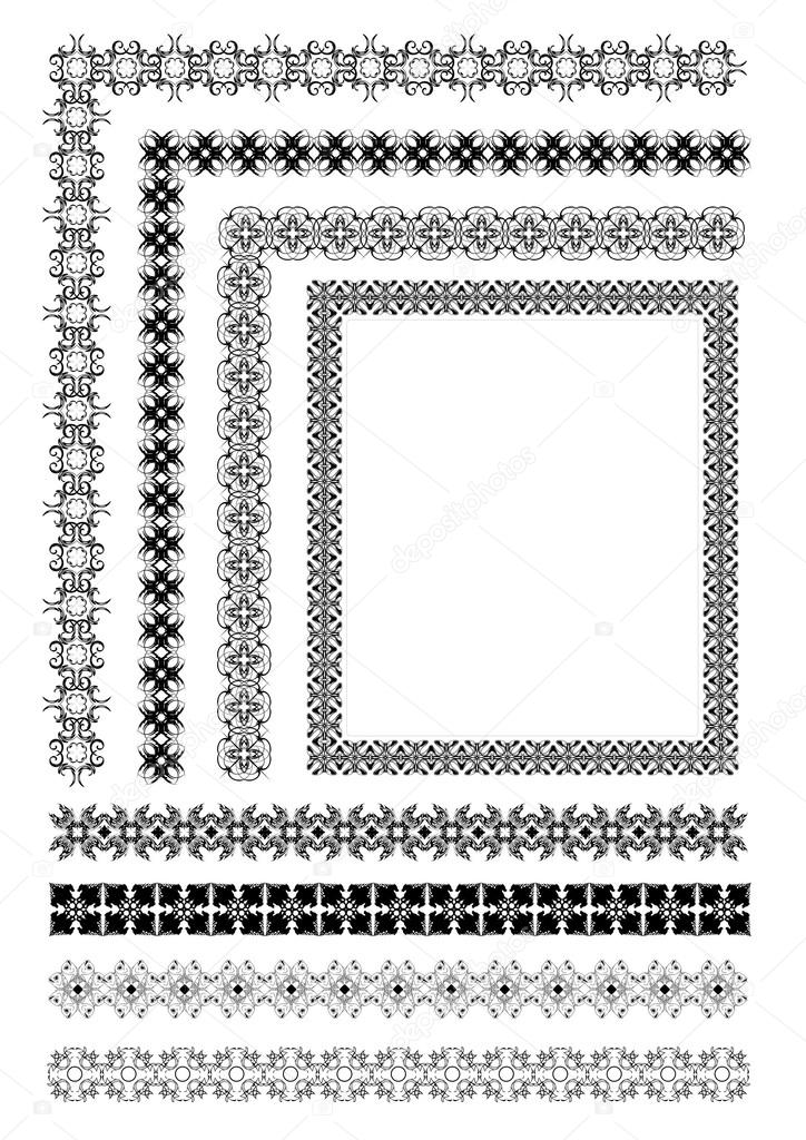 Collection of Ornamental Rule Lines in Different Design styles e