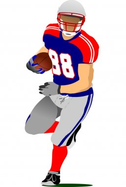 American football player in action.