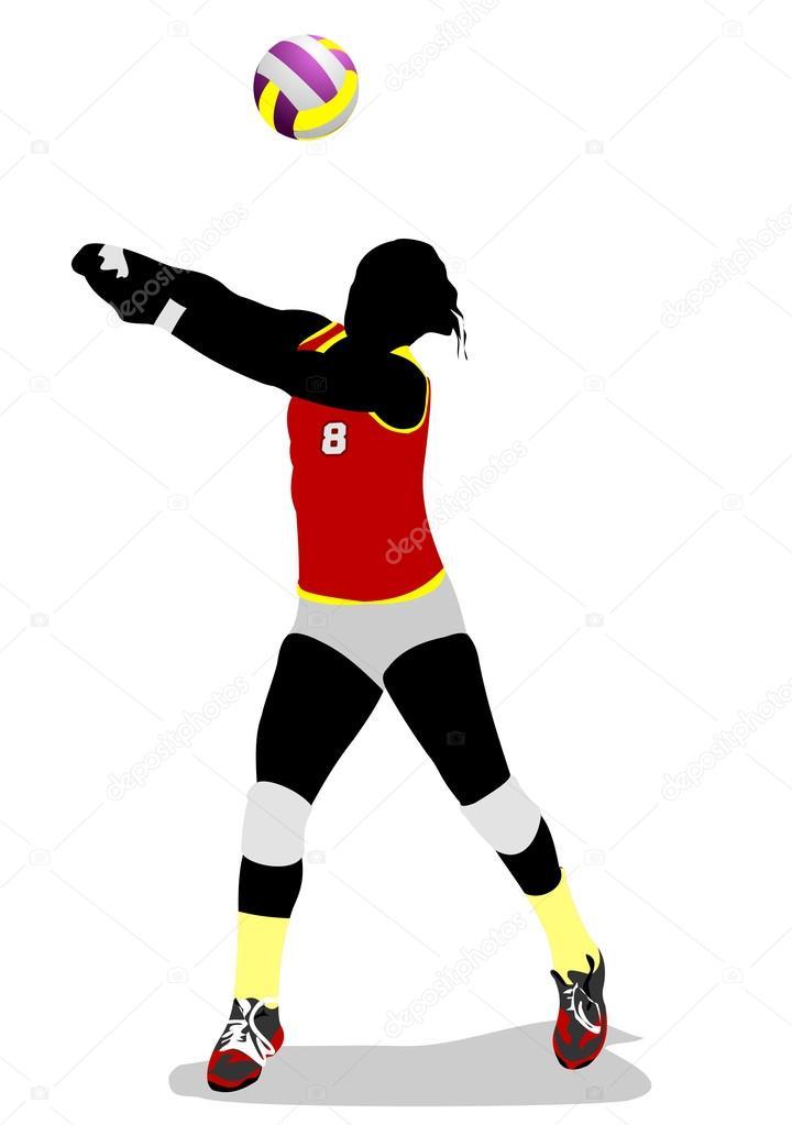 silueta de voleibol mujeres — Archivo Imágenes Vectoriales © leonido ...