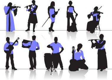 Orchestra people silhouettes