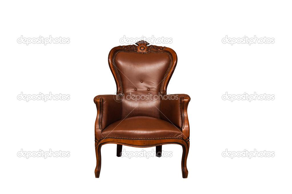 Bruine Leren Stoel : Antieke bruin lederen stoel u2014 stockfoto © nikonas #40048427