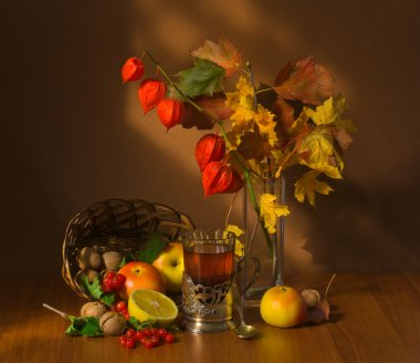 autumn fruits and tea