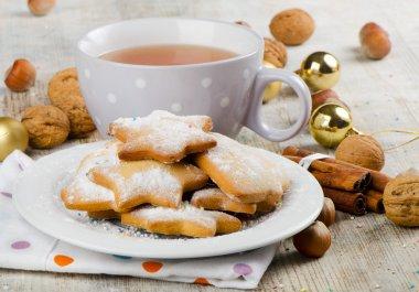 Christmas cookies and tea stock vector