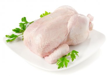 Whole raw chicken isolated on a white stock vector