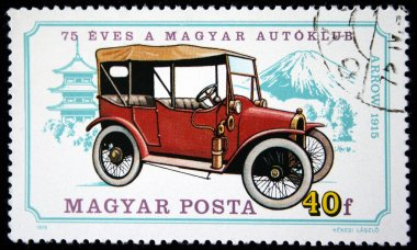 HUNGARY - CIRCA 1975: A stamp printed in Hungary shows vintage car Arrow 1915 year with the same inscription, from the series