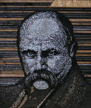 portrait of Taras Shevchenko made of screws by Yury Shpyrko