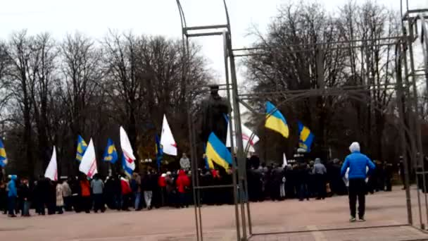 Pro-EU Protest at monument of Taras Shevchenko in Lugansk