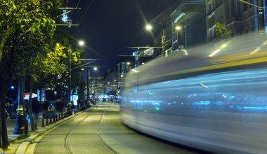 Istanbul tram at night