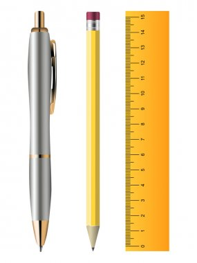 Pen, pencil and ruler