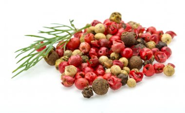 Red, black and white pepper heap