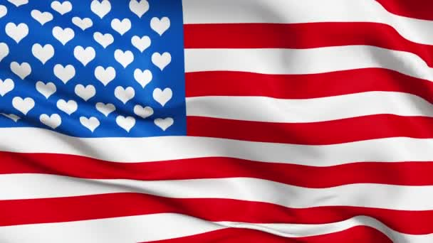 Realistic 3d seamless looping USA-love flag waving in the wind.