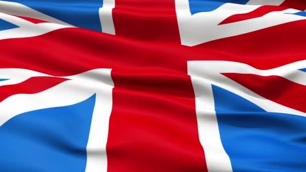 realistické 3d bezešvé opakování velké britain(english) mávání vlajkami ve větru