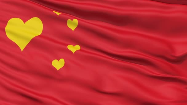 Realistic 3D detailed slow motion Chinalove flag in the wind