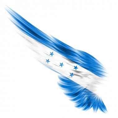 Honduras flag on Abstract wing with white background