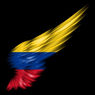 flag of Colombia on Abstract wing with black background