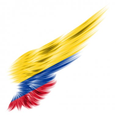 flag of Colombia on Abstract wing with white background