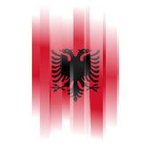 absztrakt Albánia zászló fehér háttér