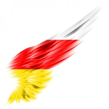 Flag of South Ossetia on Abstract wing with white background